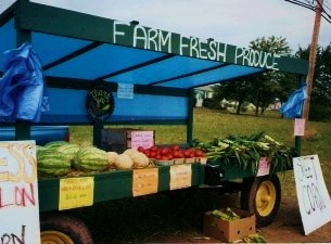 1999 roadside wagon from which R&J started selling home grown produce in-season.